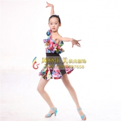 少儿拉丁表演服舞蹈裙厂家定做_风格汇美演出服饰