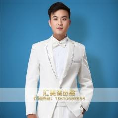 白色燕尾男士合唱服装舞台男士合服定做_风格汇美演出服饰
