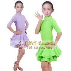 少儿拉丁表演服装女式儿童舞蹈裙定制_风格汇美演出服饰