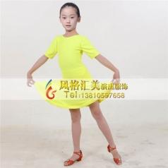 女式拉丁表演舞台服定做拉丁裙定制_风格汇美演出服饰