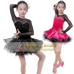 少儿拉丁舞蹈裙表演服定制工厂_f风格汇美演出服饰
