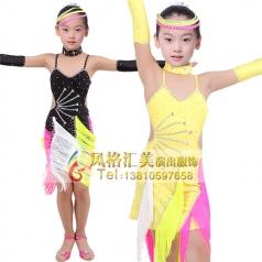 少儿拉丁练功服装表演舞台服定做_风格汇美演出服饰