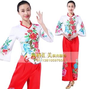 秧歌舞蹈服装定做舞台服装表演服定制厂家_风格汇美演出服饰