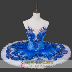 新款芭蕾舞蓝色绣花蓬裙定做_风格汇美演出服饰