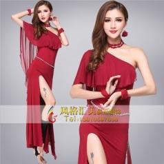 成人披肩肚皮舞连衣裙女夏新款红色演出服装