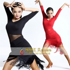 拉丁舞服装女流苏连衣裙拉丁舞蹈演出表演服定做