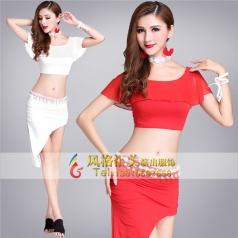 成人肚皮舞服装比赛服中国红印度舞蹈服
