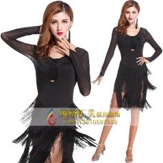 成人拉丁舞裙套装女流苏拉丁舞蹈练功服装定做