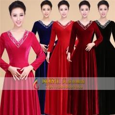 新款金丝绒合唱演出服装中老年大合唱指挥服长裙定制