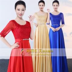 新款中老年大合唱舞台服长裙设计合唱团服装定做