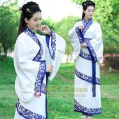 新款白色古装服装女汉服青花演出服装