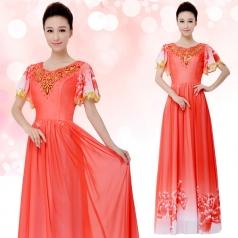 新款大合唱服装女士合唱团表演服长裙定制