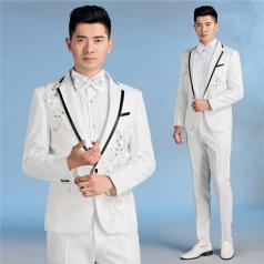 新款白色男士西服套装大合唱演出服西装立领绣花主持人服装