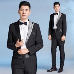 新款男士大合唱服装西服套装燕尾服黑色合唱指挥服装