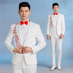 男士白色大合唱西服套装主持人舞台演出服装