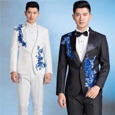 男士合唱演出服装立体贴花西服指挥演出服装