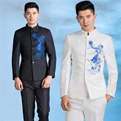 合唱服装演出服男成人中式民国绣龙中山装礼服设计