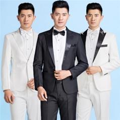 新款白西套装成人合唱服装演出服装男主持人礼服