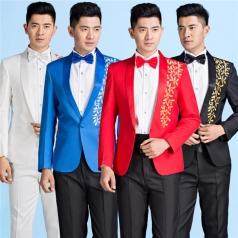 新款合唱服装西装套装男士合唱演出服舞台支持人服装
