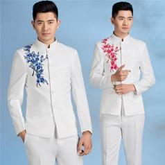 男士合唱服成人白色中山装青花合唱服中式绣花礼服