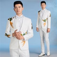 新款男士白色合唱服装成人凤凰刺绣西装主持人西装定制