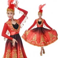 新款新疆舞蹈服民族维族演出长裙定制