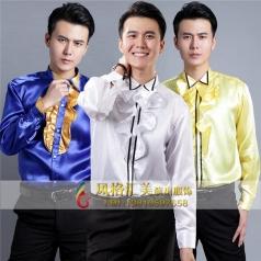 新款男子合唱演出礼服表演服定制设计舞台演出衬衫厂家