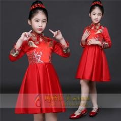 新款儿童红色礼服表演舞台演出服厂家