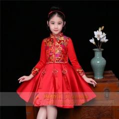 新款红色儿童舞台礼服表演服定制设计厂家