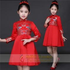 新款儿童红色长裙演出服定制设计厂家