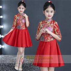 新款儿童红色礼服定制设计厂家直销