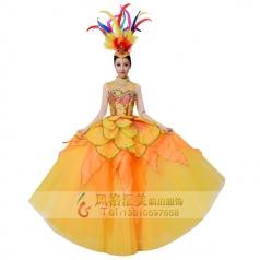 新款开场舞大摆裙黄色成人金鸡报晓舞蹈服装
