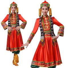 风格汇美新款蒙古舞蹈服装舞台装少数民族舞蹈演出服装定制
