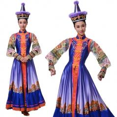 少数民族舞服装蒙古舞蹈服装演出服女蒙古袍舞台服装长裙