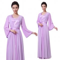 新款紫色女士合唱演出服装定制设计厂家