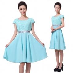 新款浅绿色女士合唱演出服装定制设计厂家直销