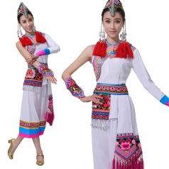畲族服装女套装新款白色斜肩民族风舞台服装