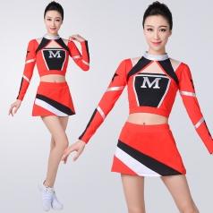 女士红色啦啦操服装红色长袖健美操服装套装成人艺术体操拉拉队服