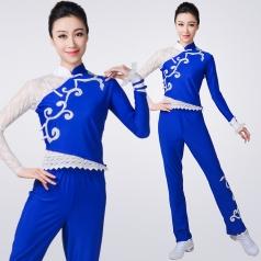 新款中式长袖蓝色健美操服装中国风团体啦啦操健美操表演服装定制