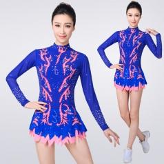 新款蓝色学生艺术体操演出服装比赛服装女儿童考级艺术健美操服装