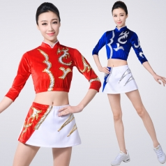 儿童拉拉队服丝绒啦啦操服装竞技比赛服装红色健美操服装舞台装