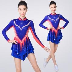 新款蓝色艺术体操服连体啦啦操服装艺术体操比赛服艺体表演服装