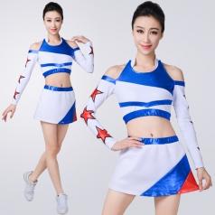 新款成人啦啦操服装白色拉拉队演出服装学校团体健美操服装定制