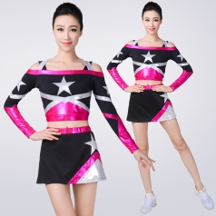 健美操服装黑色啦啦操艺术体操服装学校运动会团体啦啦队服装定制