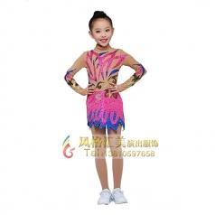 儿童艺术体操服装校园竞技体操粉色儿童体操服装定制