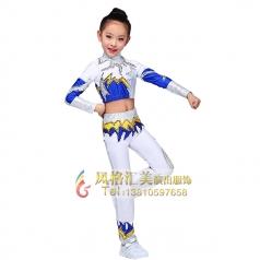 儿童健美操服装白色长袖校园竞技体操服装设计