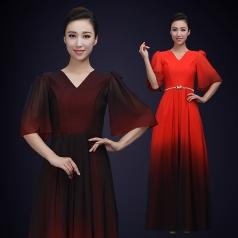 女款黑色合唱演出服装成人舞台合唱比赛演出礼服定制!