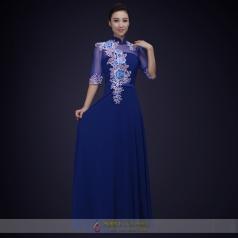 女士合唱演出礼服定制蓝色中国风大学生合唱比赛演出服装定制!