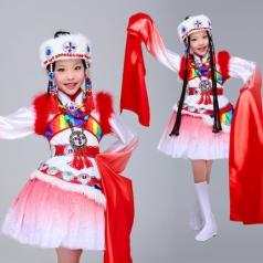儿童藏族舞蹈演出服装红色女童民族舞蹈演出服装定制厂家!