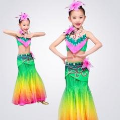儿童傣族舞蹈演出服装校园民族舞蹈表演服装定制生产款式!
